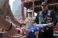 Flag raising on September 11 at World Trade Center