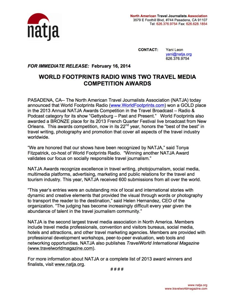 Press Release from NATJA announcing the two journalism awards for World Footprints.