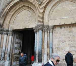 Court yard of the Church of the Holy Sepulcher. PHoto by Tonya Fitzpatrick