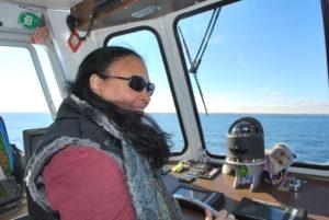 Tonya steering the ferry from Mackinac Island