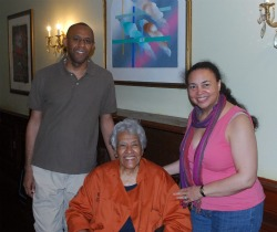 Photo of Ian and Tonya Fitzpatrick with Dooky Chase chef Leah Chase.
