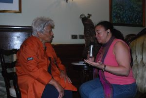Tonya interviewing Chef Leah Chase