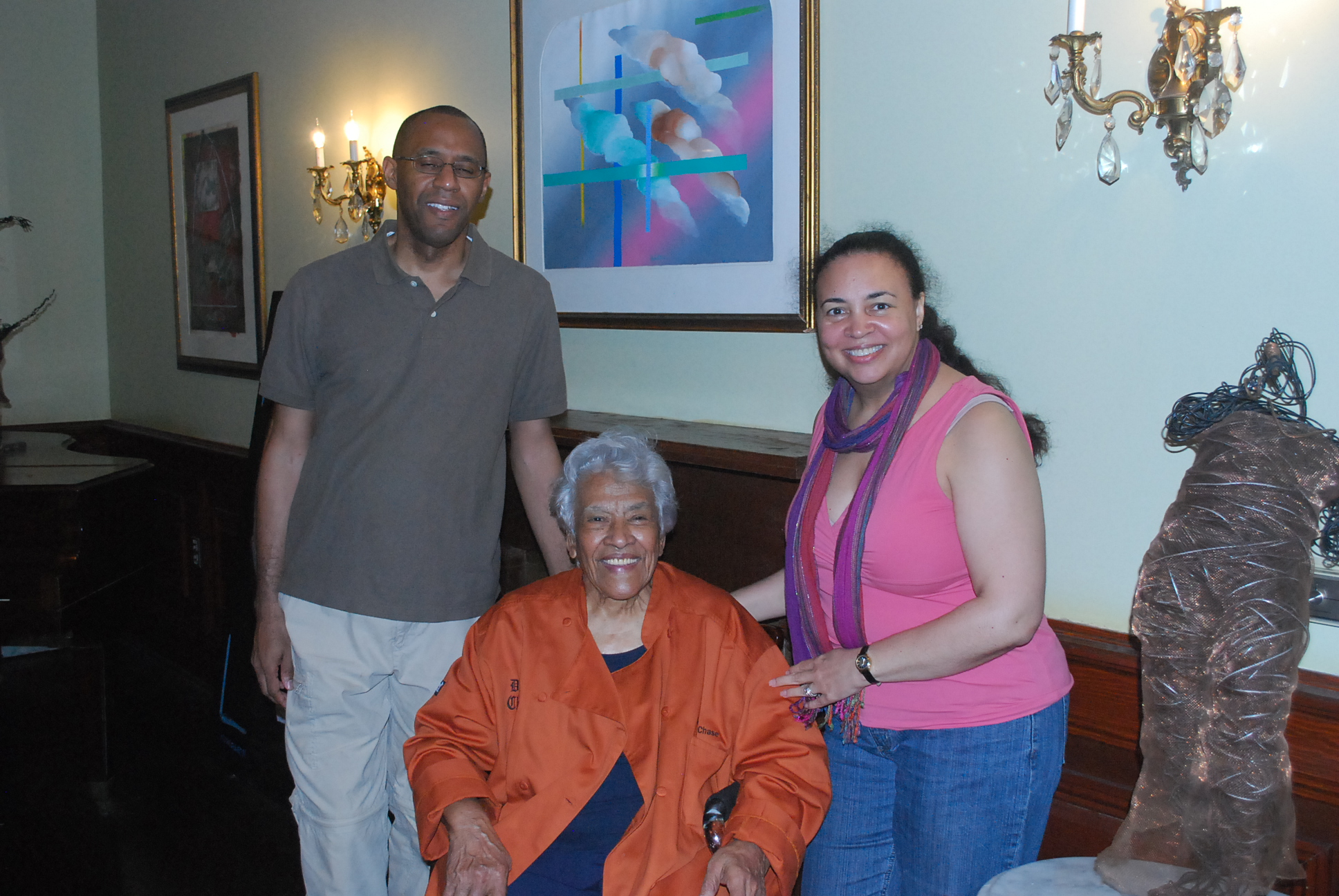 Tonya and Ian pictured with Chef Leah Chase