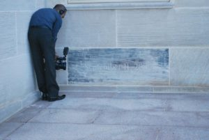 Photographer capturing an image of the spot where the Pentagon was hit. Photo: Tonya Fitzpatrick