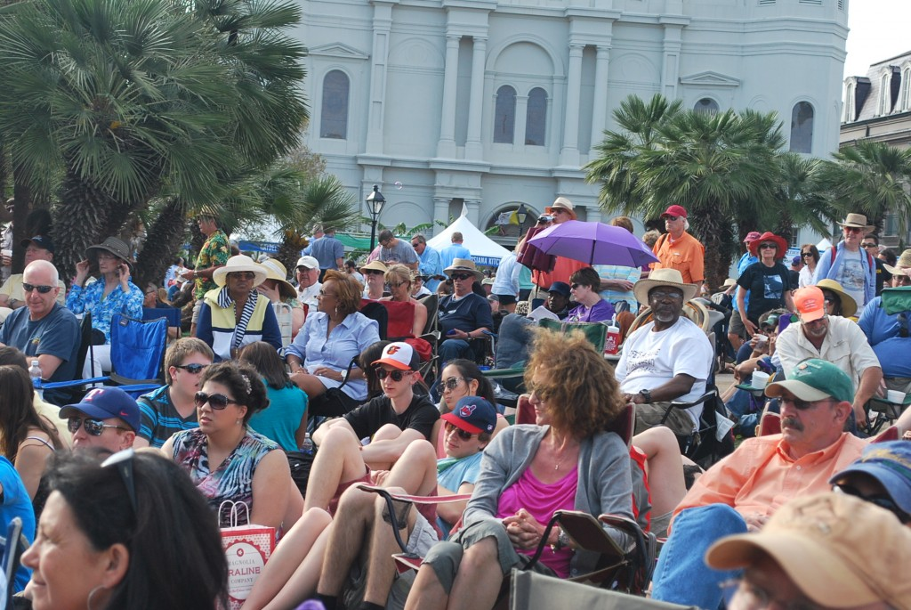 Crowd enjoying some music at French Quarter Festival.