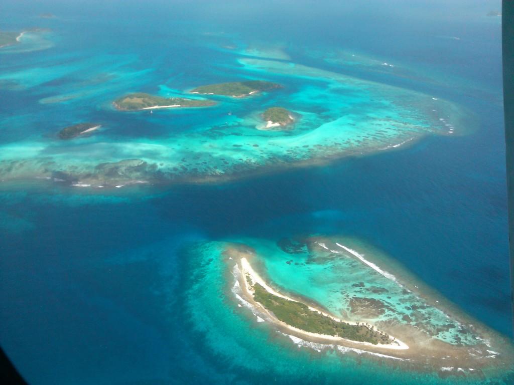 Flying over the Grenadine Islands