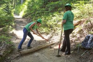 Volunteers repairing a trail in Mt. Ranier National Park.