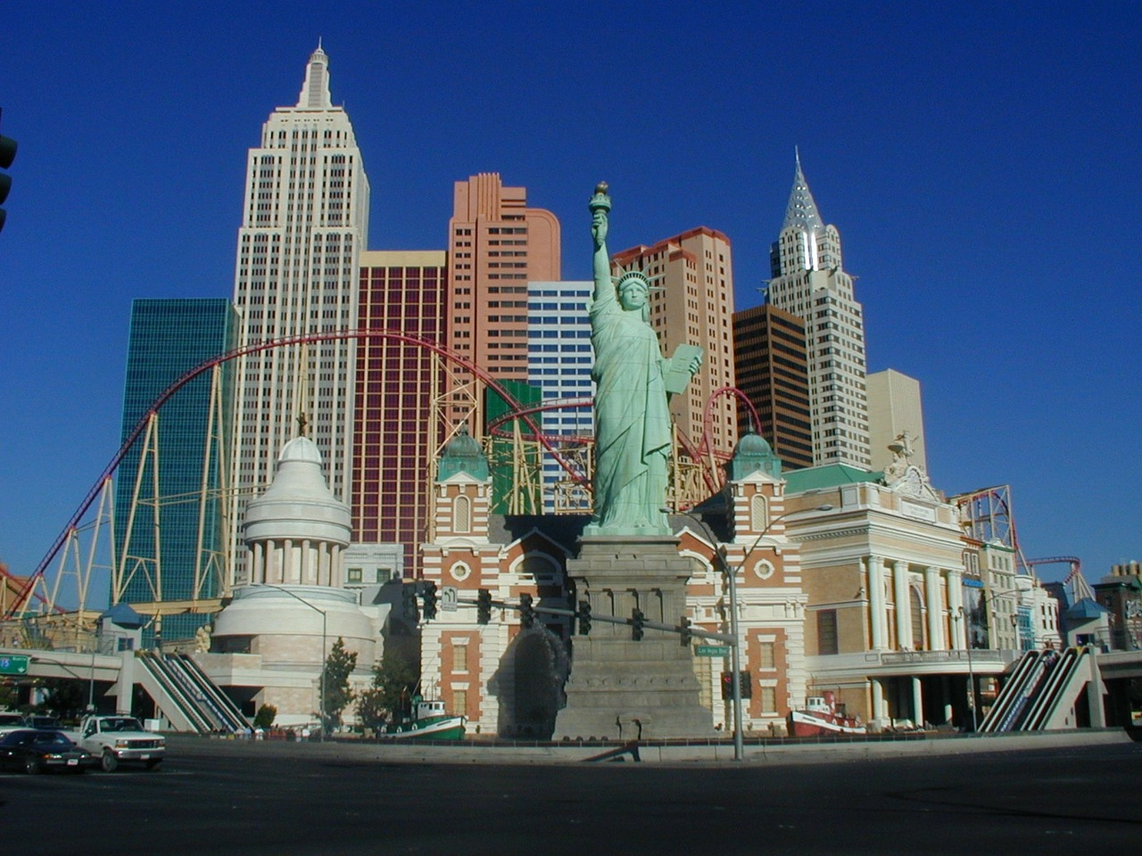 View of the Las Vegas strip with the New York casino.