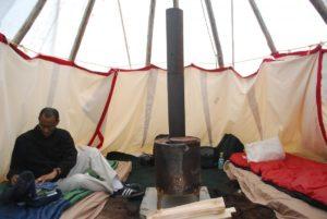 Inside our teepee. Photo Tonya Fitzpatrick