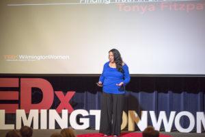 Tonya Fitzpatrick on the TEDxWilmingtonWomen stage.