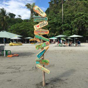 Costa Rica beach signs