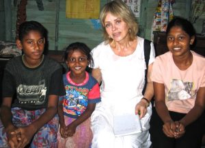 The author with two Sri Lankan students and teacher, right. Photo: Tim Leland