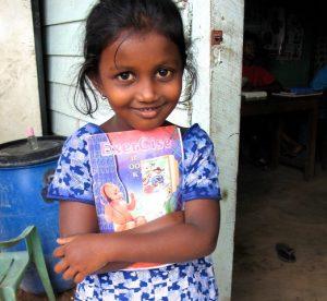 Sri Lankan girl waits for her teacher. Photo: Julie Hatfield