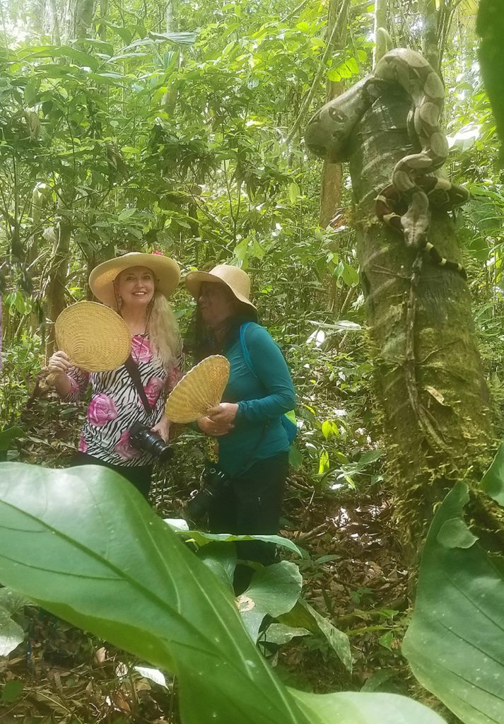 Slithering boa constrictor photo bomber in Amazon. Photo: Patti Morrow