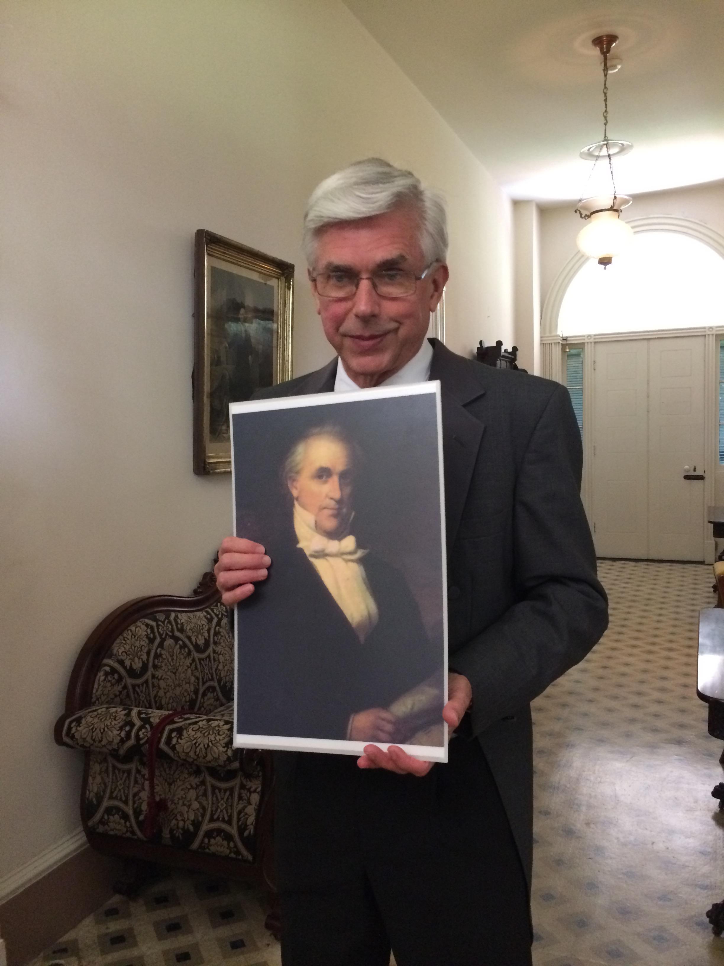 Bob Thee with a photo of President James Buchanan. Photo: Tonya Fitzpatrick