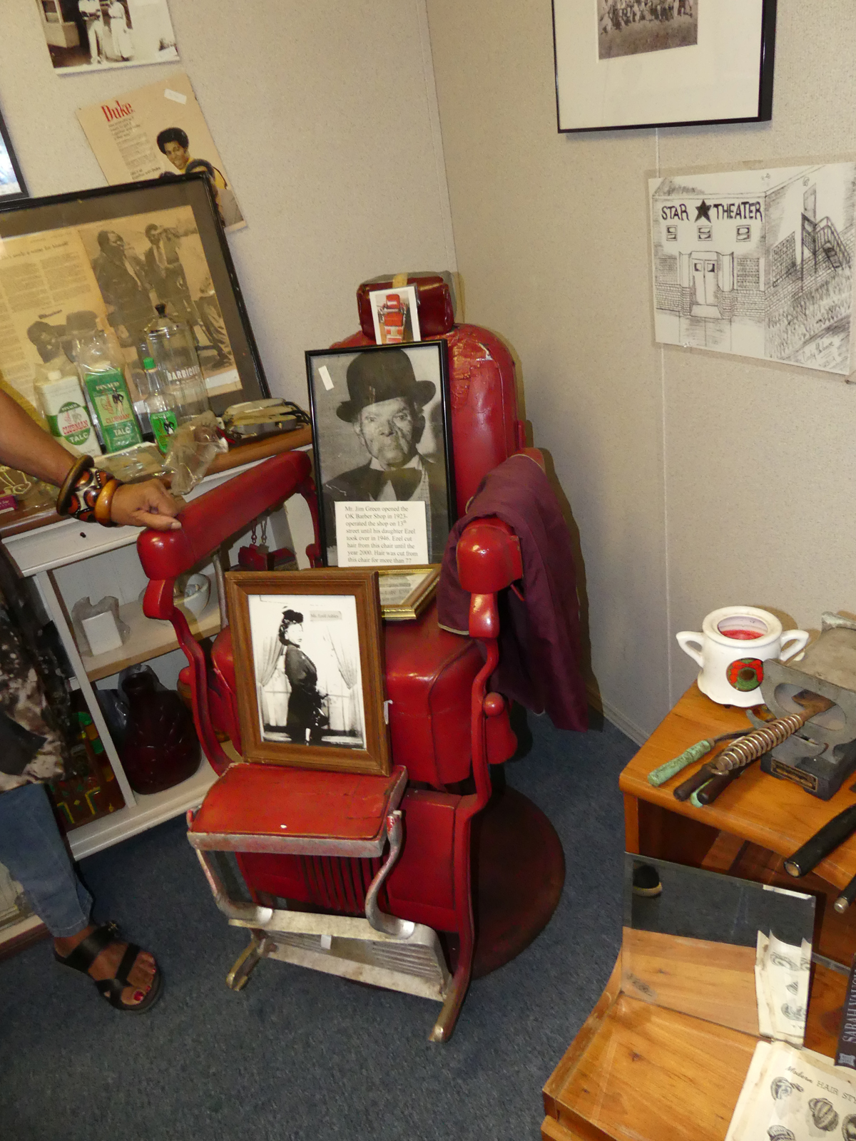 Barber chair donated by OK Barber Shop. Photo: Kathleen Walls