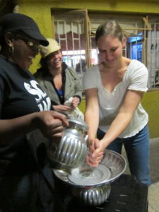 Washing our hands before our meal. Photo: Chris Chesak