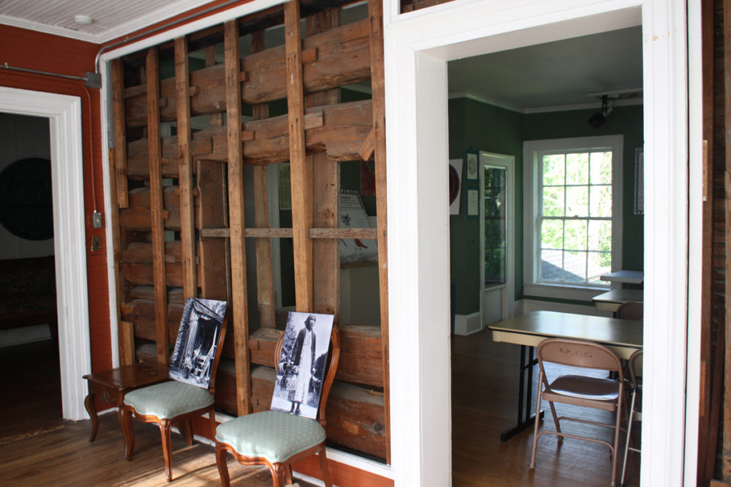 Portion of original log cabin in Chieftain Museum. Photo: Kathleen Walls