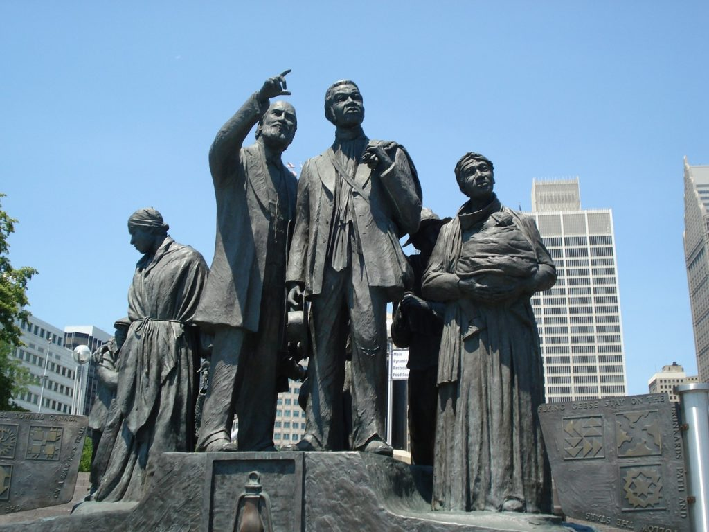 Statue honoring the underground railroad along the Riverwalk in Detroit.