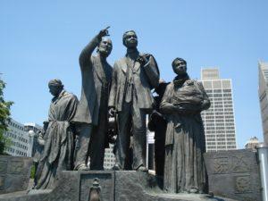 Statue honoring the underground railroad along the Riverwalk in Detroit.