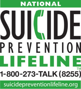 National Suicide Prevention Lifeline banner and number