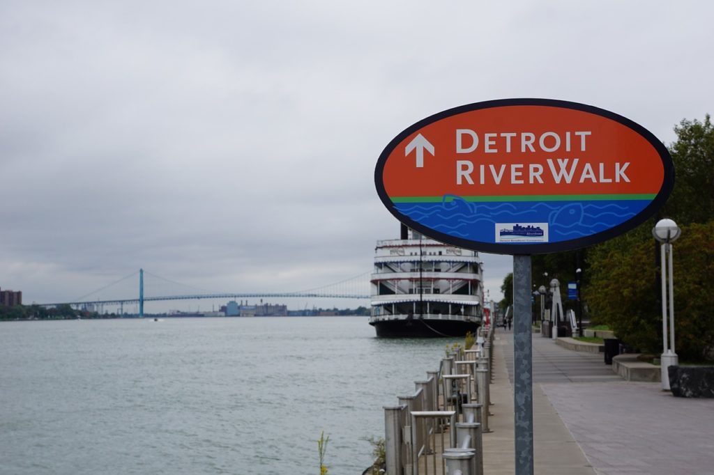 In the background is the Ambassador Bridge between Detroit and Windsor, Canada.