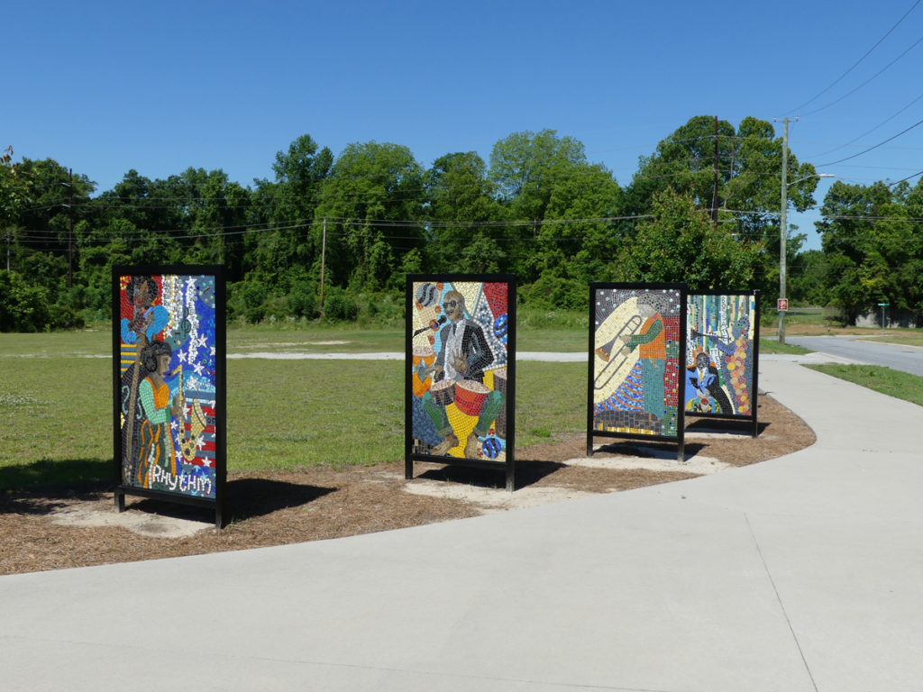 Mosaic signs at  the African American Music Park.  Photo:  Kathleen Walls