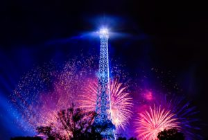 July 14th is a day of celebration in France with a military parade and fireworks.