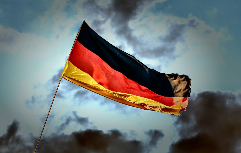 Flag of the Republic of Germany following the reunification of East and West Germany.