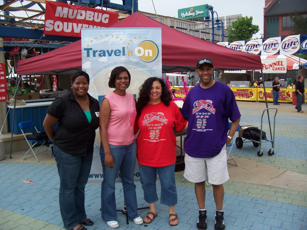 Ian and Tonya with show guests and Shreveport, LA reps at the Mudbug Madness Festival live broadcast.