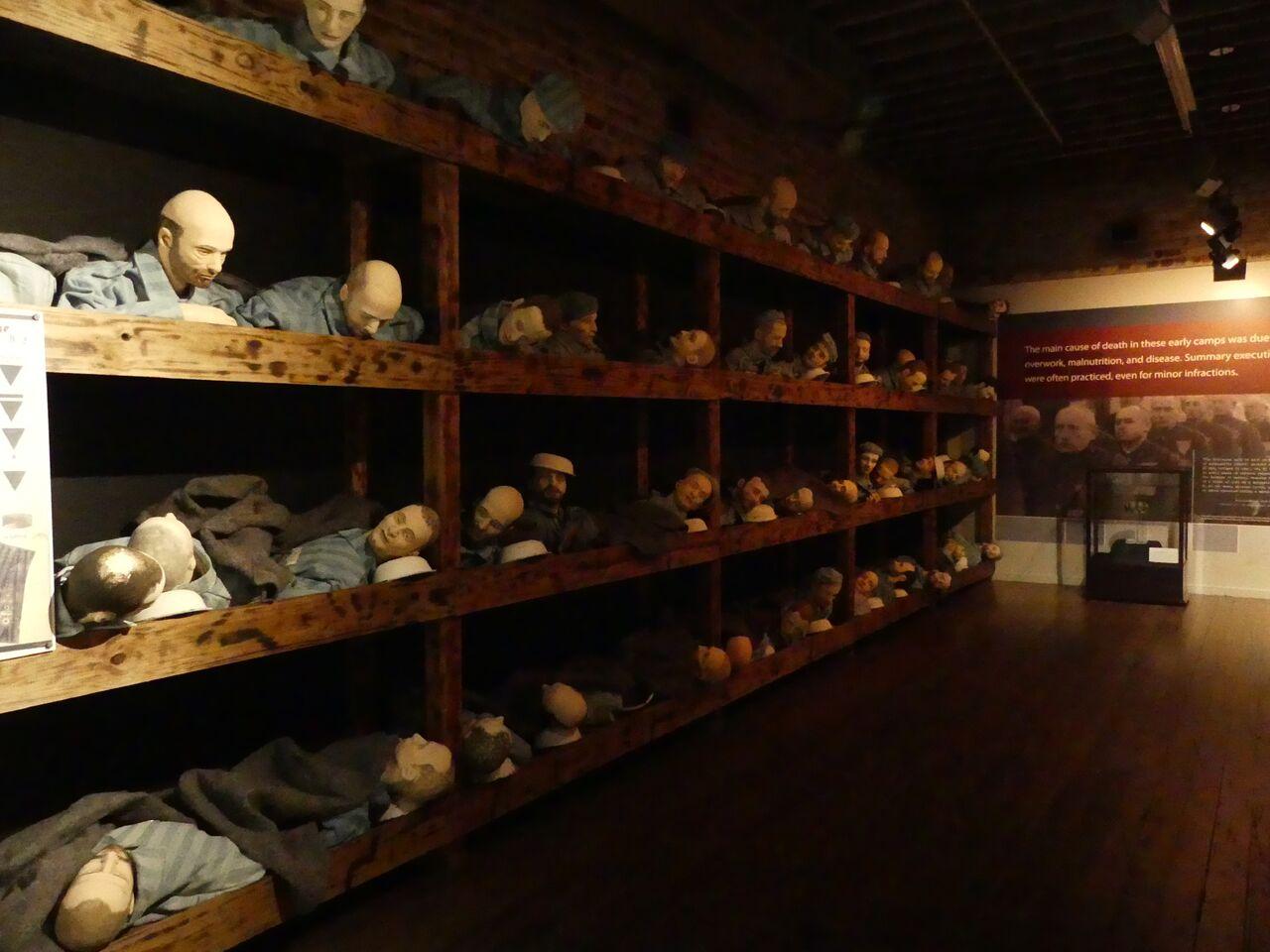 Exhibit of Holocaust prisoners in barracks. Photo: Kathleen Walls