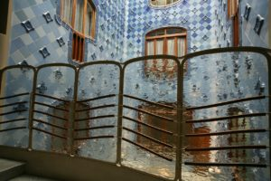 Mosaic and tiled example of Gaudi architecture.