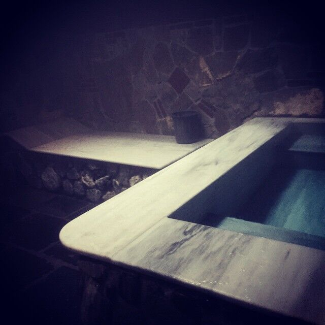 Inside a Tblisi bathhouse and view of a pool. Photo: Sarah May Grunwald