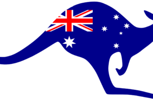 Australian flag on a kangaroo
