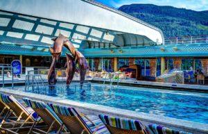 Pool on luxury cruise ship