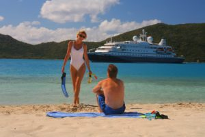 Passengers on shore leave from their luxury cruise.