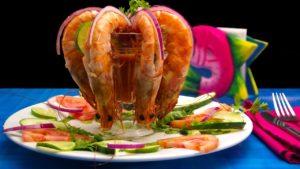 Shrimp cocktail served in a restaurant.
