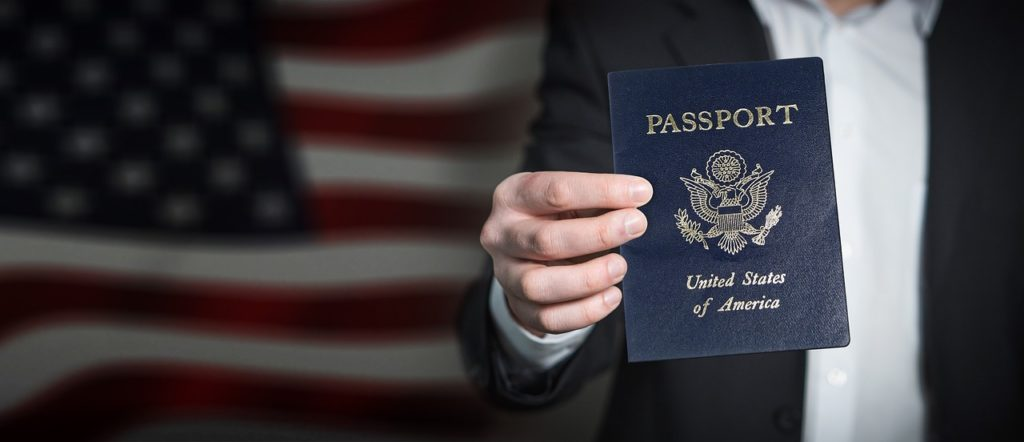 US traveler with passport