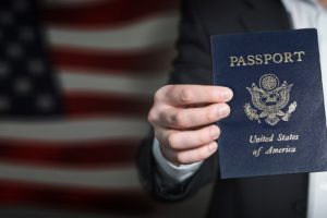 US traveler with passport