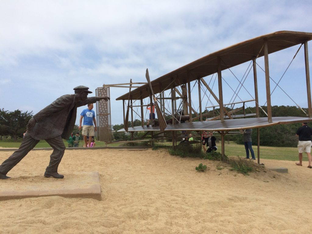 Photo of Wilber Wright statue and Wright Brothers plane taken by Tonya Fitzpatrick.