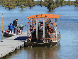 Captain Tucker Friedman loading up his airboat. Photo: Kathleen Walls