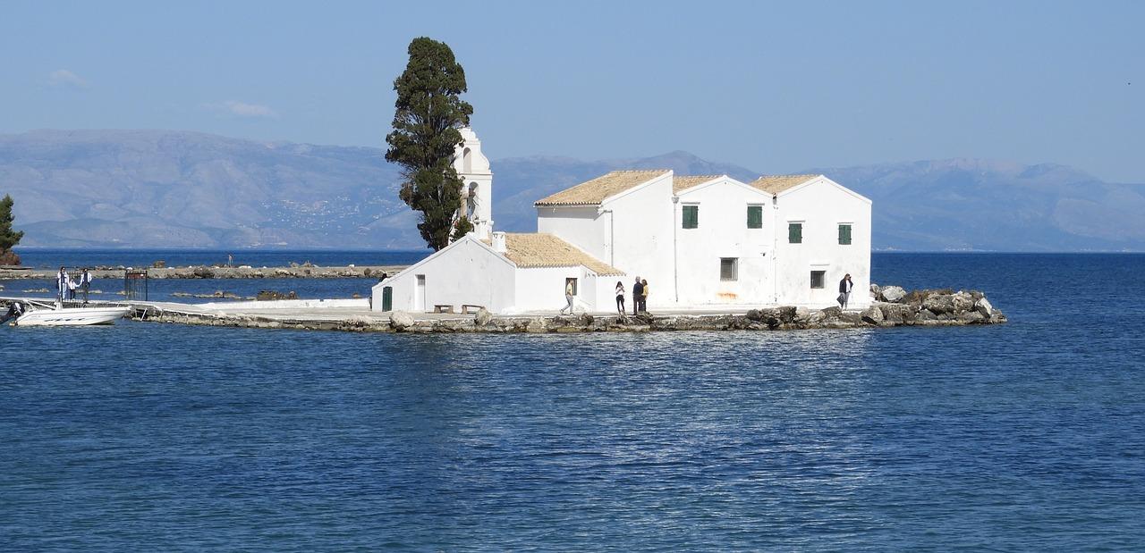 The iconic Vlacherna Monastery on Corfu, Greece.