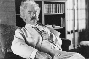 Portrait of American literary icon Mark Twain.