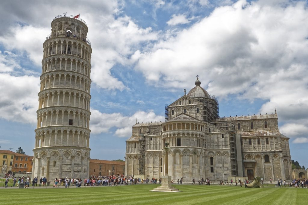 The Leaning Tower of Pisa in Tuscany, Italy.