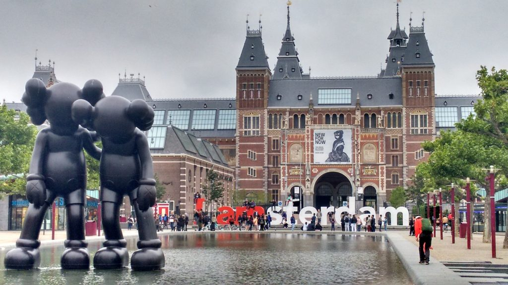 The 'I Amsterdam' slogan in front of the Rijksmuseum in Amsterdam.