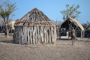 Typical housing in the Himba village.