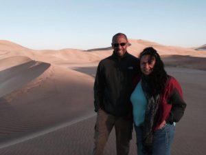 Tonya and Ian of World Footprints in the Namibian desert.