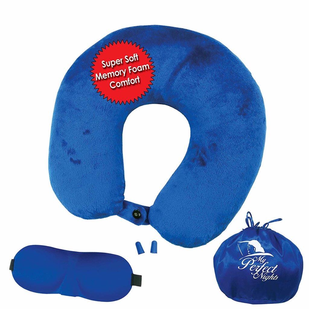 Soft and washable travel pillow set includes eye mask and ear plugs.