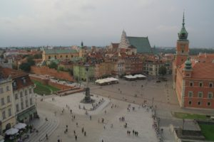 Birds-eye view of the historic city center - the old town of Warsaw.