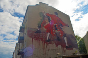 Street art on a building in Praga. Photo: Patti Morrow